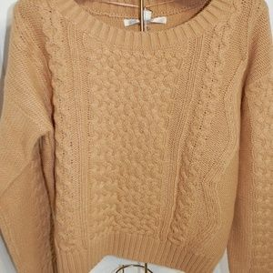 NWT Lauren Conrad Gold Tan Cable Knit Sweater